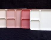 Vintage Vintage Tupperware Divided Trays Set of 4 Shades of Pink, Rose #1535 Lunch Dinner Picnic
