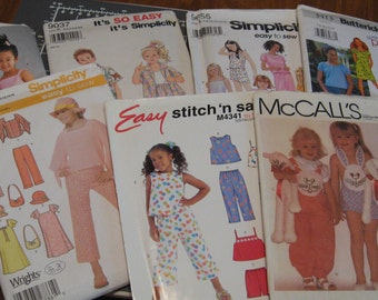 Sewing Crafting Patterns Childrens Boys Patterns Girls Patterns Simplicity 5038, 9655, 9037 McCalls 7489, M4341 Butterick B4158, 3413, B4098