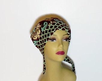 womens surgical scrub hat, brown cancer hat, chemo cap,  designer fabric  scrub hat  pixie scrub hat tie back scrub hat