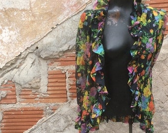 Black and Brights Floral ruffled blouse Jacker Cover Up
