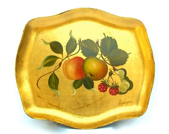 Vintage Lacquered Tole Tray, Hand Decorated Toleware, Gold Leaf Gilt, Signed, Fruit Shabby Chic Cottage, Vintage Barware Serving