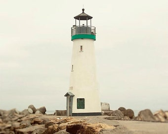 Clearance Sale, Lighthouse Wall Art, 8x10 Art Print, Nautical Decor, Santa Cruz California, Walton Lighthouse, Small Space Decor