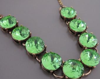Statement Necklace - Peridot Green Necklace - Crystal Necklace - Gold Necklace - Rhinestone Necklace - handmade jewelry