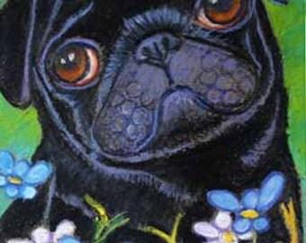 Pug painting art dog black pug ORIGINAL Oil Pastel Painting Dog pug animal daisies