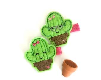 Cactus Felt embroidery hair clip, felt hair clip, baby girl hair clip, baby barrette, adorable hair clip