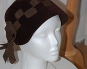 50s Hat, Chocolate Brown, Ribbon, Cloche, Shaped Velour, Belmar