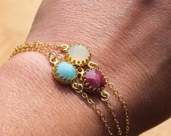 Ruby Bracelet Minimal Gold Bracelet with 14k Gold Fill Chain Delicate and Dainty Gold And Red Gemstone Bracelet Mothers Day Gift Spring Sale