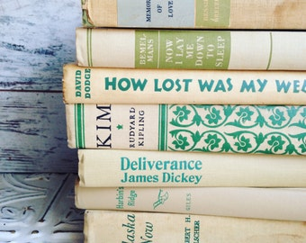 Tan & Green Books Instant Library Collection Decorative Vintage Book Bundle Photography Props Beige French Country Neutral