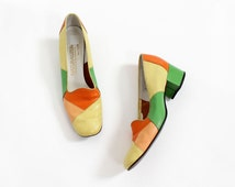 60s Leather Heels 7 • Naturalizer Shoes • Leather Slip Ons • Colorful Shoes • Leather Loafers• Orange, Yellow and Green Shoes | SH252