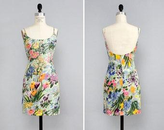 60s Sequin Dress S • Watercolor Dress • Cocktail Dress • Floral Mini Dress • Floral Sundress • Spaghetti Strap Dress • 60s Mini Dress | D779