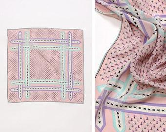 Pink Silk Scarf • Neck Scarf • Pastel Scarf • Lavender Scarf Silk • Small Scarf • Neckerchief Silk • Hair Scarf | SC212
