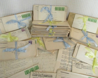 Vintage Typed/Handwritten Love Letters - 1940's - Sweetheart Ephemera - Romantic Letters - 6 in Lot - Mixed Media, Altered Art, Scrapbooking