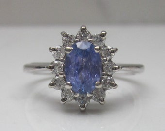 Estate Tanzanite and Diamond 14k White Gold Alternate Engagement Halo Ring, Size 6.75
