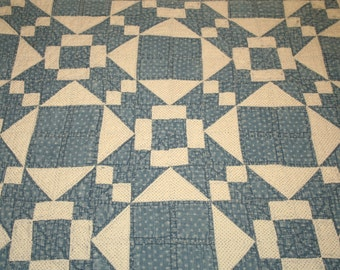 Primitive Indigo Blue and White Calico 1800s Antique Quilt Piece - 42 by 29 Inches - Lovely Primitive Piece for Display