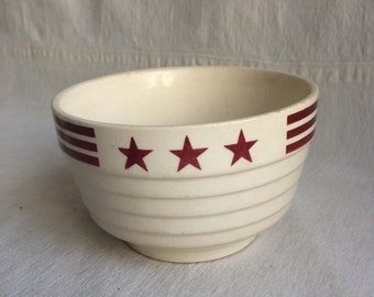 Vintage ironstone bowl  red stars and stripes bowl