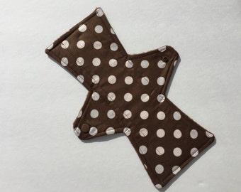 10 Inch Cloth Menstrual Pad Regular Flow Cotton Fleece Bamboo Brown Dots