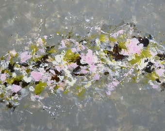 Encaustic Painting Large painting Abstract Flowers Painting green gray white pink flowers To Believe 24x36