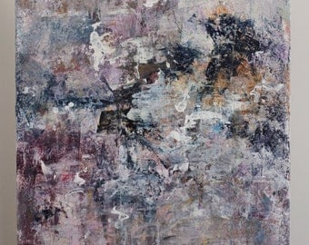Large Abstract painting  Expressionism  textured painting Painting lavender purple navy To Places 22x28  Swalla Studio