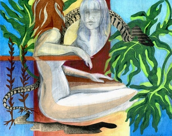 original art, mixed media, painting, Eve in the Garden III, drawing, figure drawing