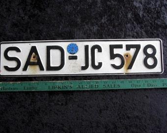"""German Vintage  License Plate 4 1/2 x 20 !/2"""" Original European Original Volvo Mercedes Volkswagen VW BMW Porsche"""