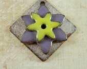 Stacked Purple and Yellow Enameled Flower Components Pendant Set