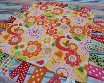 Ribbon Sensory Baby Girl Blanket Lovey - Flowers and Birds READY TO SHIP