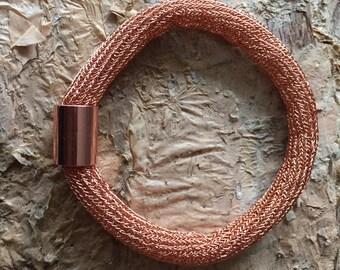 Rose gold copper mesh bangle