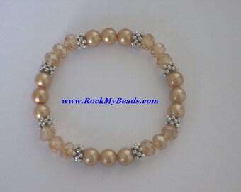 Tan Pearls and Gold Crystal Bracelet,bracelet,jewelry,women bracelet,beaded bracelet,bridesmaid bracelet,pearl bracelet,crystal bracelet