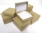 Kraft Boxes - 20 count (3.5 x 3.5 x 1) Square Cotton-Filled Boxes