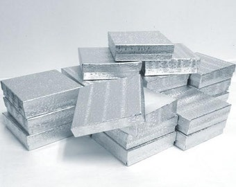Silver Foil Boxes - 20 count (3.5 x 3.5 x 1 in.) Cotton Filled Presentation Boxes