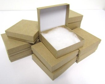 Kraft Boxes - 20 count (3.5 x 3.5 x 1) Square Cotton-Filled Boxes