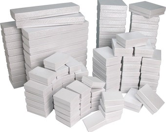 100 Pack Assorted Embossed White Swirl Gift Boxes // ECONOMY SIZE //