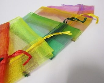 12 Pack Organza Drawstring Bags - MULTI-COLOR // Party Favor and Jewelry Bags //