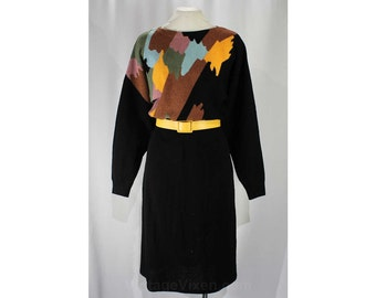 Size 10 Designer Dress - Paint Strokes Knit by Adolfo - 1980s New York Label - 80s Artsy Black & Pastel Knitwear - Waist 26 to 30 - 46909