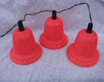 vintage lighted Christmas bells pink mica bells lighted indoor bells mid century Christmas