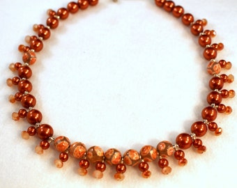 Handmade Burnt Orange Necklace