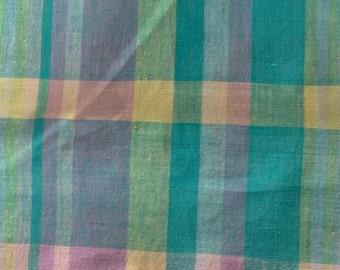 Green, Purple, Pink and Yellow Pastel Plaid 2 1/4 Yards Cotton Fabric X0438 MO