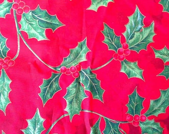 Holly  Christmas Fabric Novelty Print Cotton Fabric 1 1/2 Yards  X0490