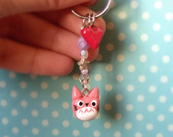Pink totoro and heart (from my neighbour totoro) keychain