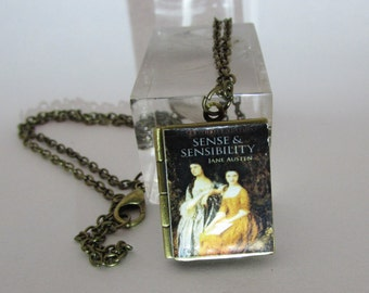 Sense and Sensibility Vintage Book,Locket Pendant with an antique chain Handmade