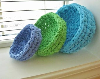 Crocheted Rag Baskets-Nesting Rag Bowls-Turquoise,Green,Blue Bowls-Crochet Rag Bowls-Recycled-Ecofriendly-Repurposed Rag Bowls