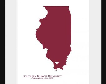 Southern Illinois University - Salukis - Illinois Map - Print Poster - College State Map