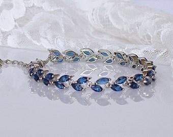 Blue Crystal Bracelet, Sapphire Bridal Bracelet, Blue Tennis Bracelet, Crystal Bridal Jewelry, Wedding Jewelry, HAYLEY Crystal