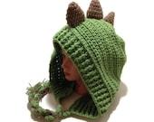 Green Dinosaur Hood Crochet Pixie Hat Dinosaur Cosplay Hood Crochet Dinosaur Hat Kawaii Cosplay Hat