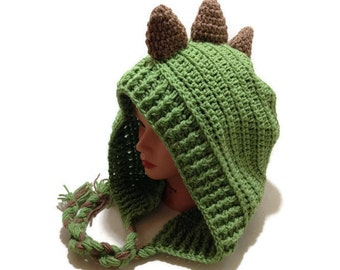 Green Dinosaur Hood Crochet Pixie Hat Dinosaur Cosplay Hood Crochet Dinosaur Hat Kawaii Cosplay Hat