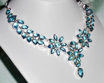 Blue Topaz gemstones, solid sterling silver Necklace