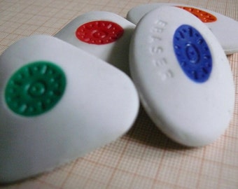 4 GEOMETRY Vintage erasers from Spain - Antique COLOR school eraser set - Rubber collection - School and desk antique supplies