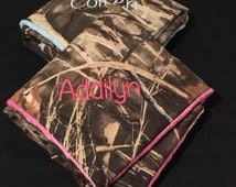 YOU CHOOSE camo & minky dot baby blanket with free monogram