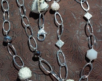 Shimmering White and Silver Beads and Chain Lanyard