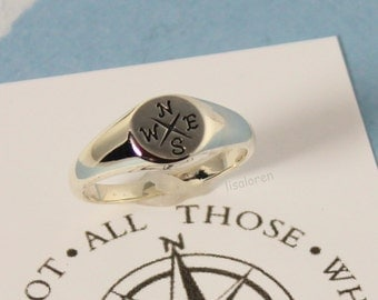 Compass Ring - Sterling Silver -  Let your compass be your Guide with your new endeavor - Graduation Gift, Friendship, Journey, Nautical